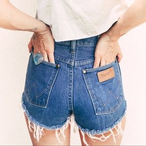 Wrangler Vintage Dark Wash High Rise Denim Shorts